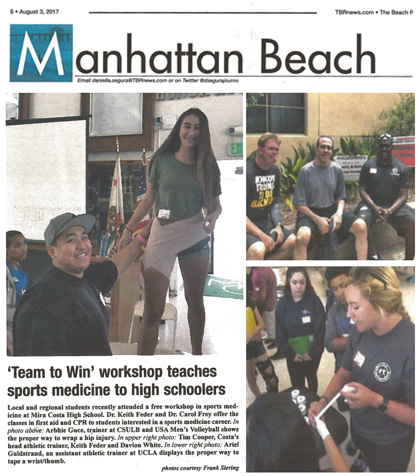 Sports Medicine, Dr. Feder and Team To Win mentioned in The Manhattan Beach Newspaper.